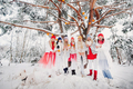 A large group of girls with tangerines are standing in the winter forest.Girls in red and white - PhotoDune Item for Sale