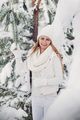 Portrait of a woman in white clothes in a cold winter forest. A girl with a white hat on her head in - PhotoDune Item for Sale