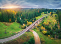 Beautiful old viaduct at sunset in carpathian mountains in autumn - PhotoDune Item for Sale