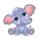 Cute Sitting Baby Elephant Cartoon Character - GraphicRiver Item for Sale