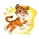 Cute Jumping Tiger Cartoon Character Vector - GraphicRiver Item for Sale