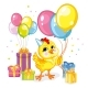 Vector Illustration Cartoon Chicken with Present - GraphicRiver Item for Sale
