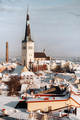 Winter View of the old town of Tallinn.Snow-covered city near the Baltic sea. Estonia - PhotoDune Item for Sale