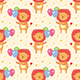 Happy Birthday Seamless Pattern. Cute Animal Lion With Balloons. - GraphicRiver Item for Sale