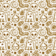Halloween. Day of Dead. Golden Ink Vector Seamless Pattern. - GraphicRiver Item for Sale