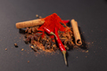 Close-up of spicy red capsicum cinnamon and ground pepper lie on the table. Spicy food concept and - PhotoDune Item for Sale