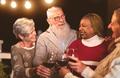 Happy senior friends celebrating holidays while toasting with red wine glasses on house patio - PhotoDune Item for Sale