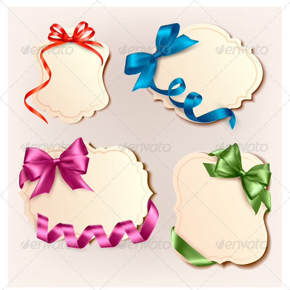 Set of beautiful cards with colorful gift bows wit