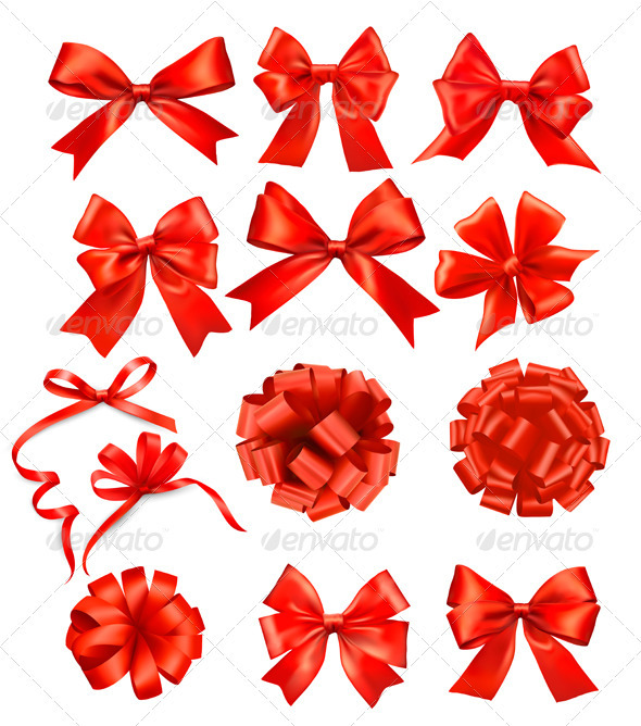 Big set of red gift bows with ribbons