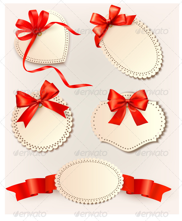 Set of beautiful tags with red gift bows with ribb