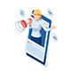 Isometric Woman Use Megaphone Promote Her Social Media on Smartphone - GraphicRiver Item for Sale