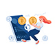 Woman Exchange Dollar Coin to Bitcoin Through Smartphone App - GraphicRiver Item for Sale
