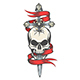Skull Pierced by Sword Colorful Tattoo - GraphicRiver Item for Sale
