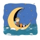 Boy and His Toys are Floating on the Moon  - GraphicRiver Item for Sale