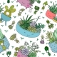 Pattern with Cute Cartoon Succulents - GraphicRiver Item for Sale