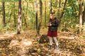 Child girl using an old-fashioned camera in autumn nature. Photographer, fall season and leisure - PhotoDune Item for Sale