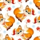 Vector Seamless Pattern with Baby Christmas Fox - GraphicRiver Item for Sale