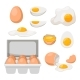 Eggs in Carton Box Tray and Broken Farm Product - GraphicRiver Item for Sale