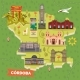 Argentina Cordoba Map with Sightseeing Landmarks - GraphicRiver Item for Sale