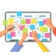 Board with Empty Stickers or Notes People Hands - GraphicRiver Item for Sale