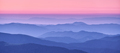 Mountain ridges in fog and pink sky at sunset in autumn - PhotoDune Item for Sale