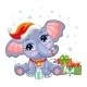 Cute Christmas Elephant with Gifts Vector - GraphicRiver Item for Sale