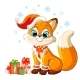 Cute Christmas Fox with Gifts Vector Illustration - GraphicRiver Item for Sale