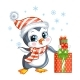 Cute Christmas Penguin Boy with Gifts Vector - GraphicRiver Item for Sale
