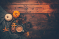 Autumn flatlay with cup of coffee, pumpkins and cuddle blanket - PhotoDune Item for Sale