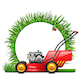 Vector Lawn Mower with Round Grass Frame - GraphicRiver Item for Sale