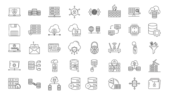 Database & Security Line Icons