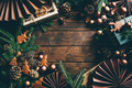 Top view Christmas decoration on wooden background with copy space. - PhotoDune Item for Sale