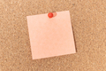 Blank note and push pin on cork board - PhotoDune Item for Sale