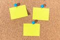 Group of Yellow sticky notes on a cork board - PhotoDune Item for Sale