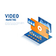 Isometric Web Banner Video with Play Button and Data Analysis on Tablet - GraphicRiver Item for Sale