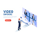 Isometric Web Banner Businessman Discussing Financial Analysis Chart While Video Conference - GraphicRiver Item for Sale