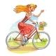 Beautiful Girl Rides a Bicycle and Waving - GraphicRiver Item for Sale