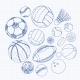 Freehand Drawing Sport Balls on a Sheet  - GraphicRiver Item for Sale