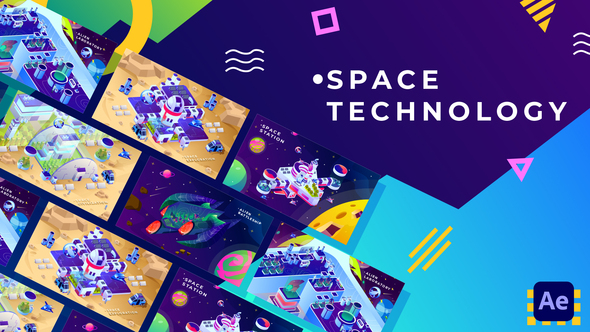 Space Technology Isometric Animation | After Effects