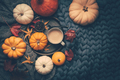 Autumn flat lay with cup of coffee, pumpkins and cuddle blanket - PhotoDune Item for Sale
