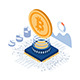 Isometric Bitcoin Over The Computer Chip and Circuit Board - GraphicRiver Item for Sale