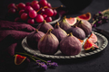 Organic fresh figs with red grapes and lavender - PhotoDune Item for Sale