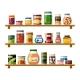 Tinned Food on Shelves Illustration - GraphicRiver Item for Sale