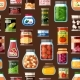 Factory and Homemade Canned Food Seamless Pattern - GraphicRiver Item for Sale