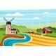 Farm Summer Landscape with Mill Illustration - GraphicRiver Item for Sale