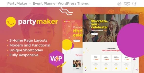 PartyMaker   Event Planner & Wedding Agency WordPress Theme
