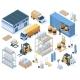 Isometric Storage Buildings Cargo Trucks  - GraphicRiver Item for Sale