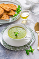 Homemade zucchini soup with tomato ciabatta bread and herbs - PhotoDune Item for Sale