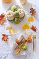 Place settings for Thanksgiving with pumpkins and apple wine - PhotoDune Item for Sale