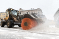 Snowplow truck vehicle removing snow after blizzard and snowstorm. Winter season - PhotoDune Item for Sale